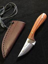 Custom Hand Made Hunting Neck Knife Brown Wood Handle Leather Sheath