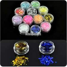 New 12 Colors Ice Mylar Glitter For Acrylic / UV GEL Nail Art Decoration EFFU