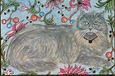 LIMITED EDITION BRENDA GOODWIN postcard NORWEGIAN FOREST CAT Gallery Golden Cat