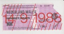 Sammler Used Ticket / Entrada Holland v Wales 14-09-1988 WC 1990 Qualifier