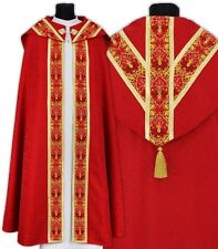 Red Semi Gothic Cope with stole KY637-C25p Capa pluvial Roja Piviale Rosso Chape