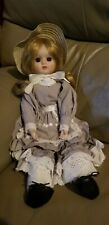 Porcelain Dolll with Long Blonde Hair 2 Piece outfit with Eyelet lace trim
