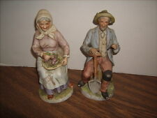"Home Interiors Homco Porcelain Figurine 1433 8"" Old Man Farmer Old Woman Grapes"