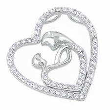 CUTE CZ MOTHER SON HEART  .925 Sterling Silver Pendant