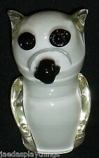 "Murano Glass Owl Black White 5.5"" Figurine Vtg Hand Blown Art Glass"