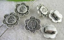 25pcs Tibetan Silver 2 holes flower spacer beads FC8751