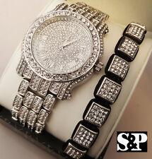 Men Hip Hop Iced White Gold PT Simulated Diamond WATCH & Shamballa Bracelet Set