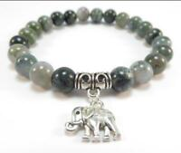 Natural agate India buddhist prayer beads mala men bracelet elephant pendant