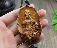 Wood Carving Lotus Leaf Kwan Yin Buddha Statue Car Pendant Amulet Wooden Craft