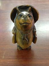 """1940's Japanese handmade Boxwood Netsuke """"FOX CAT"""" Figurine Carving 3.5INCH"""
