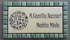 Targa nome incisa su piastrella di ceramica 15 x 7,5 cm