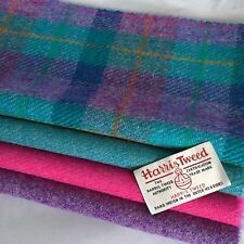 HARRIS TWEED FABRIC Bundle Purple Pink Teal & Free Labels, ideal for craft