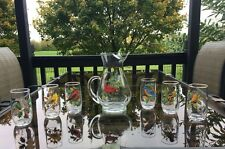 Vintage West Virginia American Birds Pitcher and 6 Different Bird Glasses SET