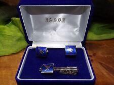 JASDF 1960 CUFFLINKS/TIECLIP Japan Air Self-Defense Force BLUE Guilloche Enamel