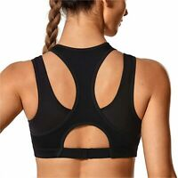 SYROKAN Women's Workout Sports Bra High Impact Support Bounce, Black, Size