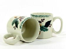 Hartstone Pottery CHRISTMAS GARLAND 5oz Mini Mug Set 2P Holly Berry Acorn Ribbon