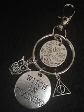 Harry potter Charm Keyring Deathly Hallows Clip Bag Key Ring Chain Witch Owl