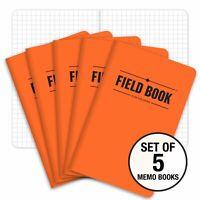Field Notebook 3.5x5.5 - Orange - Lined Memo Book Pack of 5