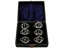 Sterling Silver Napkin Rings Set of Six - Antique Edwardian