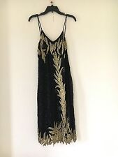 WOMEN'S SPARKLING YELLOW AND BLACK DRESS SIZE L WEDDING SEXY COCKTAIL