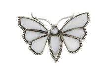Butterfly Brooch Solid Silver Real Mother of pearl Hallmarked