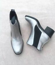 Zara Metallic Silver & Black Ankle Boots Size UK4 EU37 US6.5 # 611