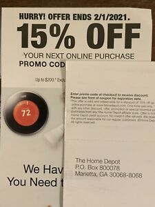 Home Depot 15% Off COUPN Your Next Online Purchase Exp 2/1/21