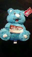 "Nestle Chocolate Plush Stuffed Blue 10"" Teddy Bear Sno Caps Candy  NWT Very Soft"