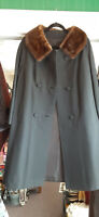 VINTAGE DELUXE  BLACK WOOL DRESS COAT BROWN MINK COLLAR SIZE M/L