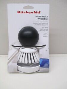 KitchenAid palm brush with dish in white