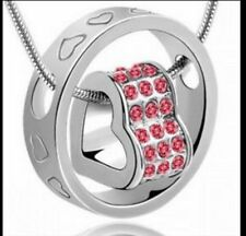 Silver Crystal Chain Rhinestone Heart Pendant Necklace Plated Christmas Gift