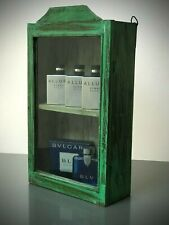 ANTIQUE VINTAGE INDIAN CABINET. ART DECO.  DISPLAY / BATHROOM. JADE & PALE SAGE.