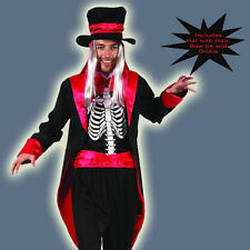 Skeleton Gentleman Costume Suit Spooky Magician Adult Mens Halloween Hat Dickie