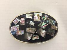 Vintage Alpaca Mexico Abalone Inlay Silver tone Southwest Belt Buckle