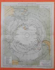 Südpolarkarte 1886 Südpol Polarreisen Expeditionen Packeisgürtel