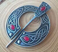 Celtic/Viking/Vintage Gold/Silver/Tin/Red Penannular Brooch Shawl/Kilt/Scarf Pin