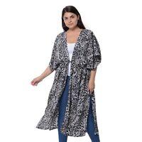 Black and Gray Pattern Long Shape Waistband Loose Kimono Cardigan 100% Polyester