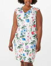 NWT Calvin Klein Floral Print Sleeveless Scuba Sheath Dress  Plus Size  14 W