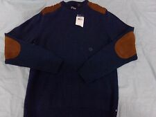 Mens Size Small Chaps Crew Neck Blue Winter Sweater w/ Faux Suede Elbows NEW