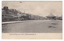 Punxsutawney PA - BR&P RAILROAD STATION & FLYER TRAIN - Postcard