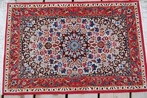 Alter Teppich China Wolle mit Seide auf Seidenkette  fein 0,94 x 0,63 Meter