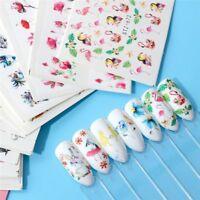 15x  Wasserzeichen Aufkleber Set Blume Tier Designs bunte Nail Art Decals neu