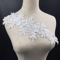 EE_ GT- 2Pcs Flower Embroidery Lace Applique Bridal Wedding Clothes DIY Patch Co
