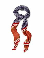 Lucky Brand Women's Printed Silk Scarf Orange Red Blue Striped Large 26x74