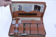Vintage Travel Grooming Kit Leather Bound Case with Original Brush Comb Soap