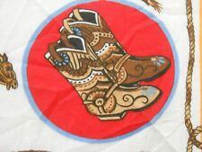 VTG RED WHITE WESTERN COWBOY HORSE HATS BOOTS BIKER BANDANA HANKY handkerchief