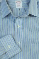 Brooks Brothers Men's Blue Gold White Stripe Cotton Dress Shirt 16 x 35