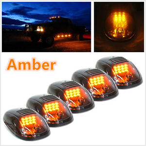 Amber Color 5 Pcs Vehicle Pickup Cab Roof Top Signal Marker Light Running Lamp