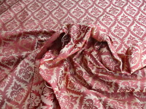 BY YD KRAVET RED & GOLD SMALL MEDALLION SILK DAMASK MSRP$159/Y