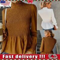 Womens Ladies High Neck Long Sleeve Blouse Casual Shirts Sweatshirt Tops Size